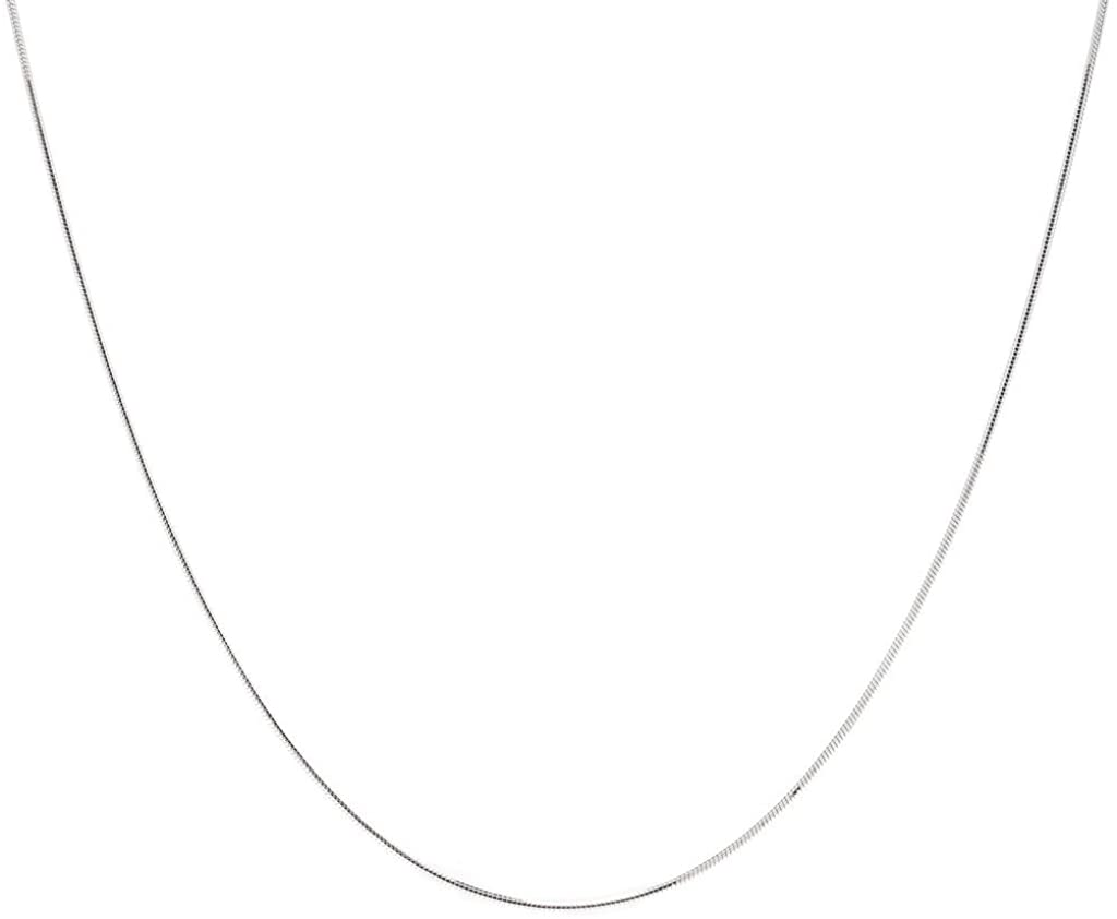 0.8mm High-Polished .925 Sterling Silver Round Snake Choker Chain Necklace, 16 inches + Jewelry Cloth & Pouch