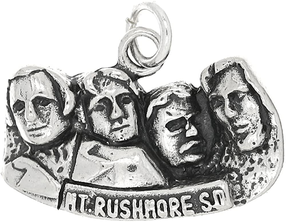LGU Sterling Silver Oxidized Cut Out Mount Rushmore Charm