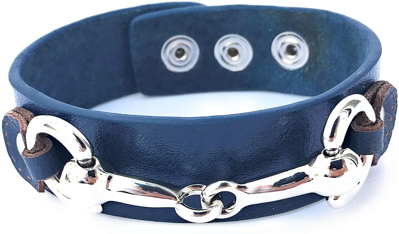 Equestrian Leather Cuff Bracelet with Silver Snaffle Horse bit, Handmade in Brooklyn USA