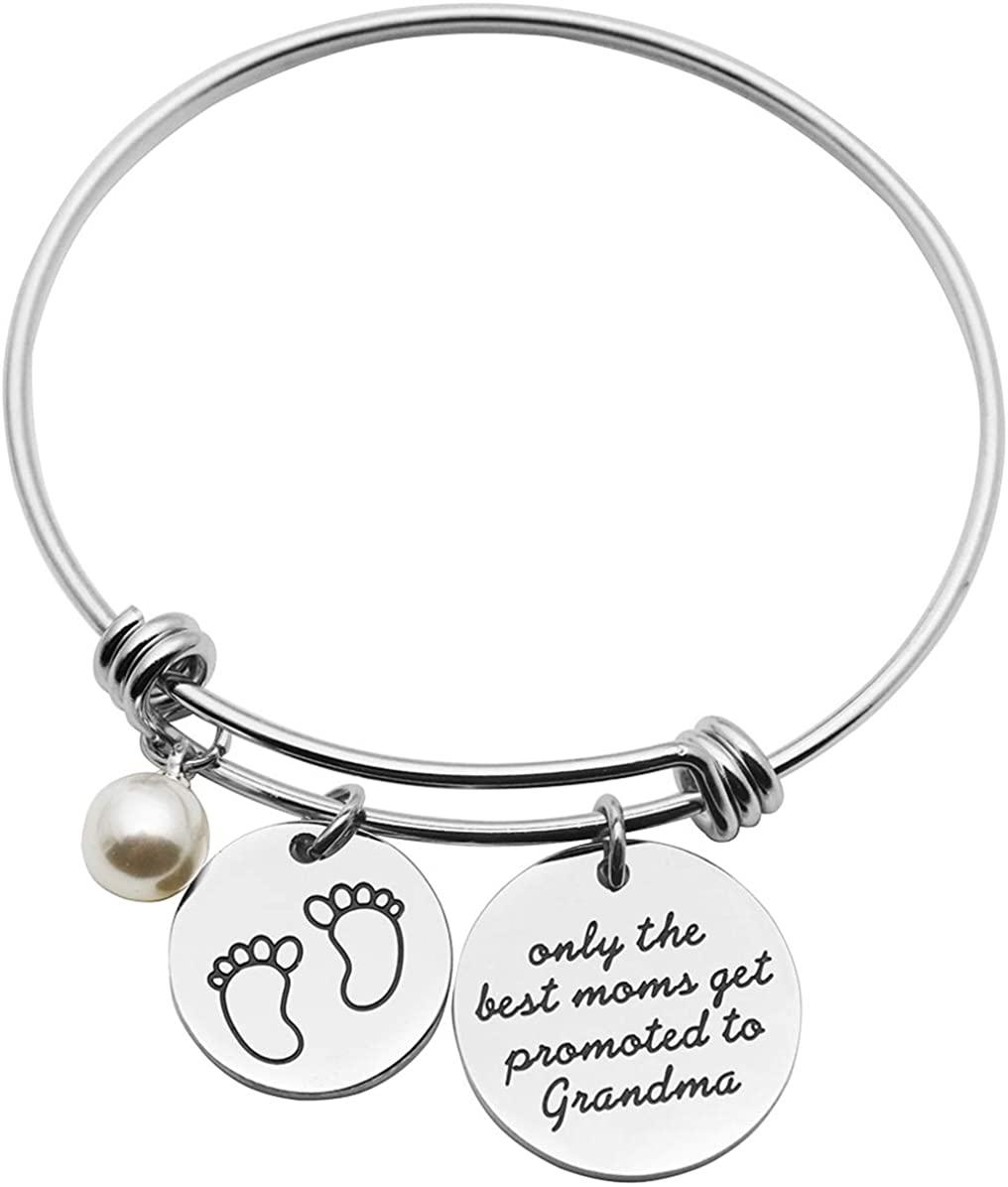 Beeshion Grandma to be Gift Charm Adjustable Bracelet for Grandma New Grandmother Bangle New Grandma Gift