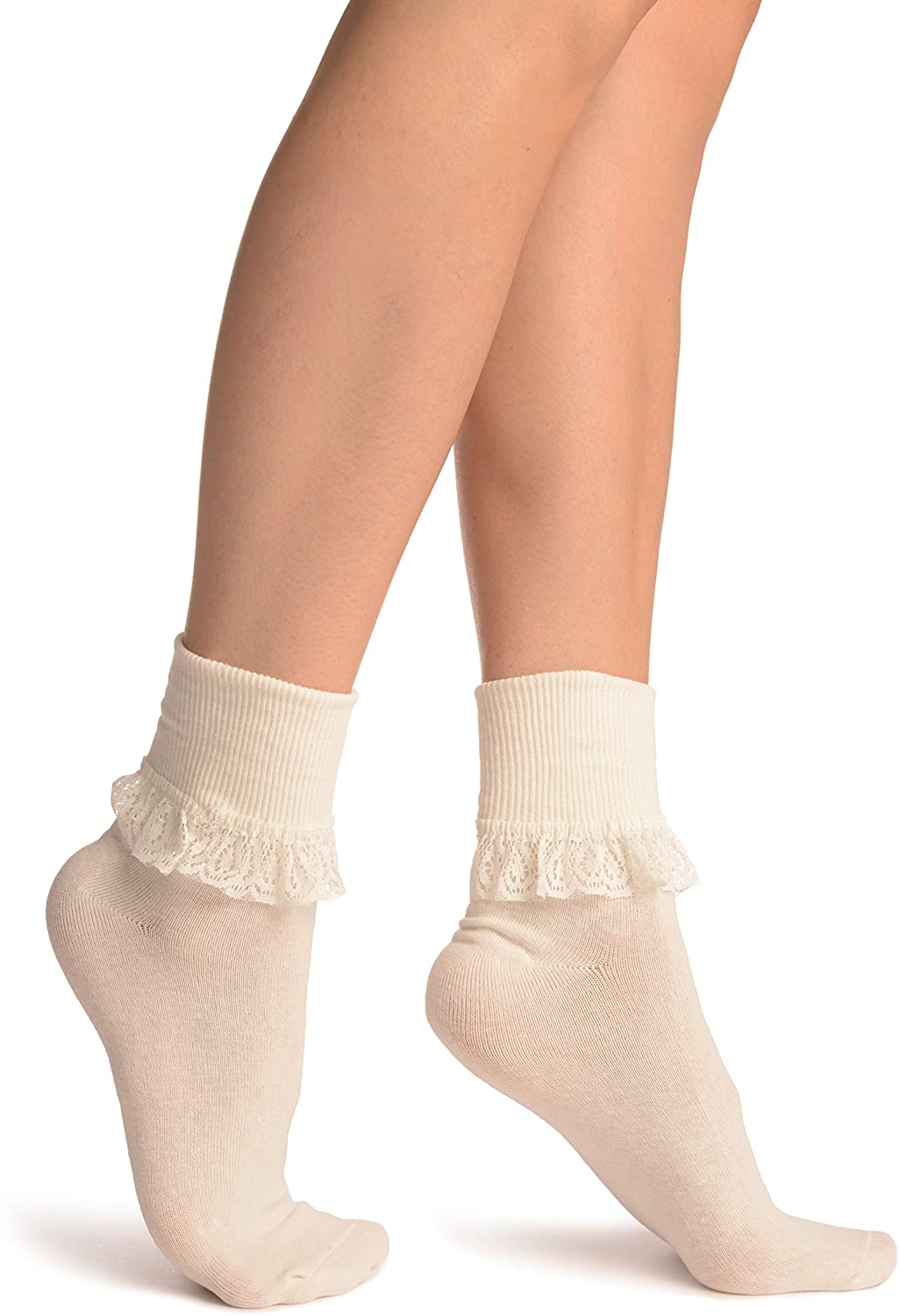 Cream With Cream Lace Trim Ankle High Socks - Socks