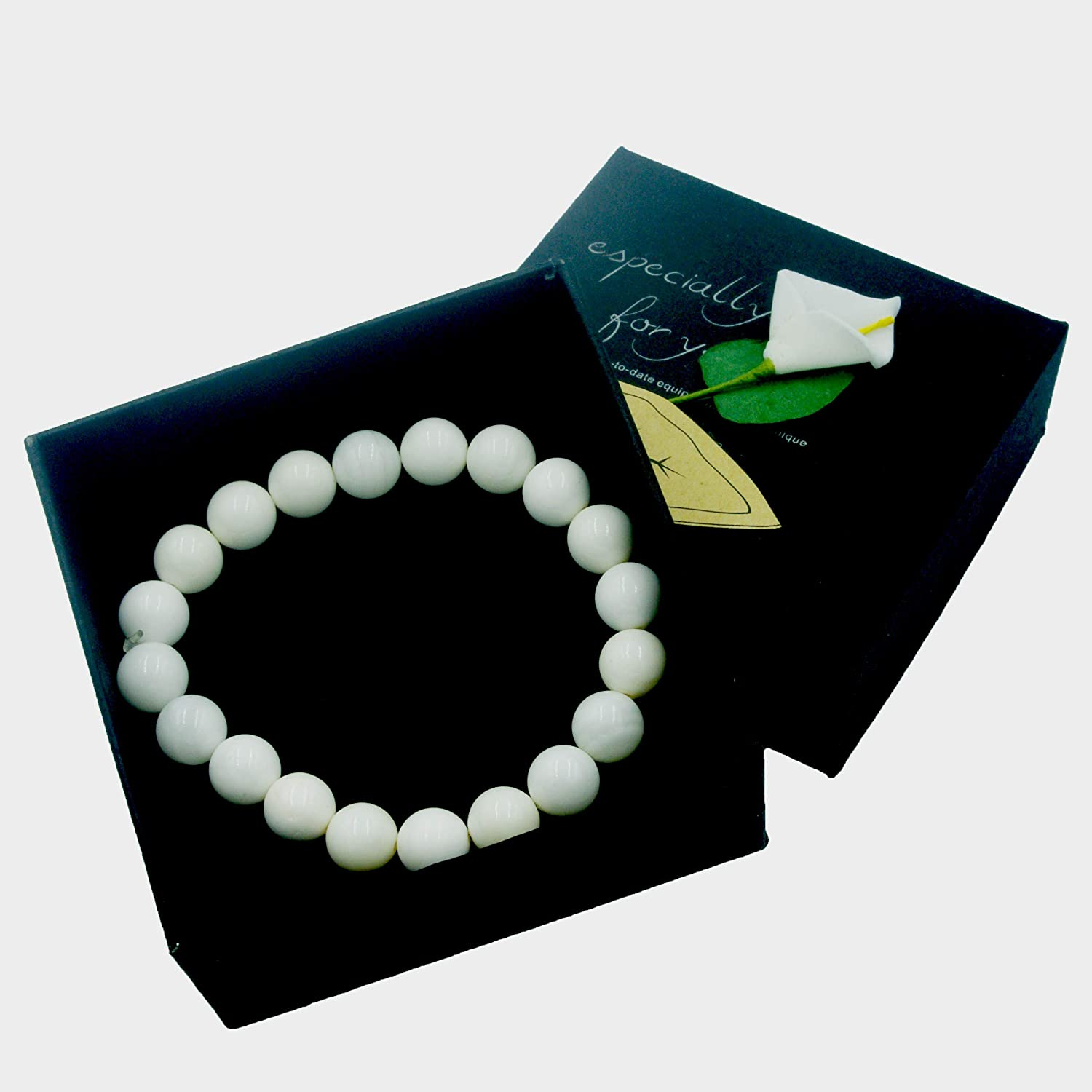 Bleu Bath White Pure Natural Tridacna Shell Beads 8mm Smooth Round Loose Beads Gem Stretch Bracelet Findings Cool in Gift Box Packed Even for Sensitive Skin