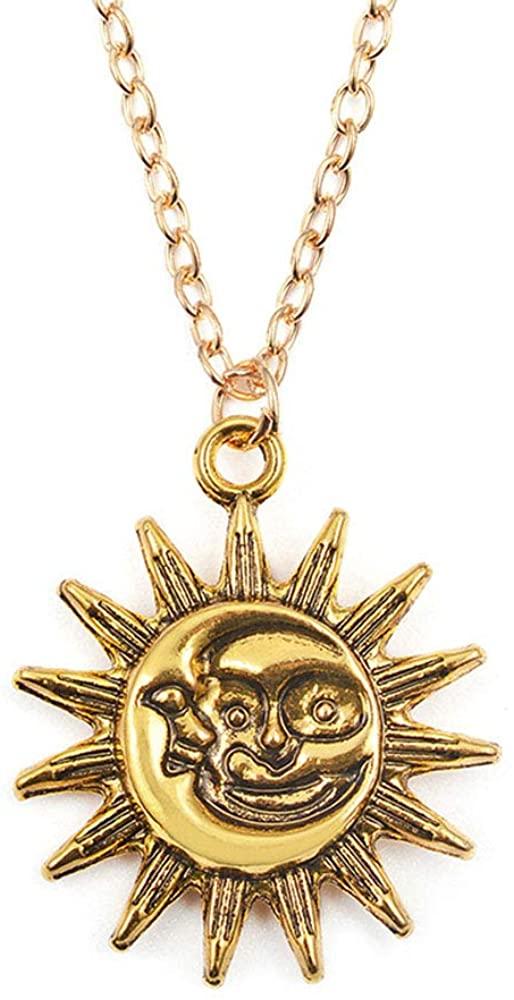 RUIZHEN Antique Gold Silver Happy Sun Face with Cresent Moon Pendant Necklace