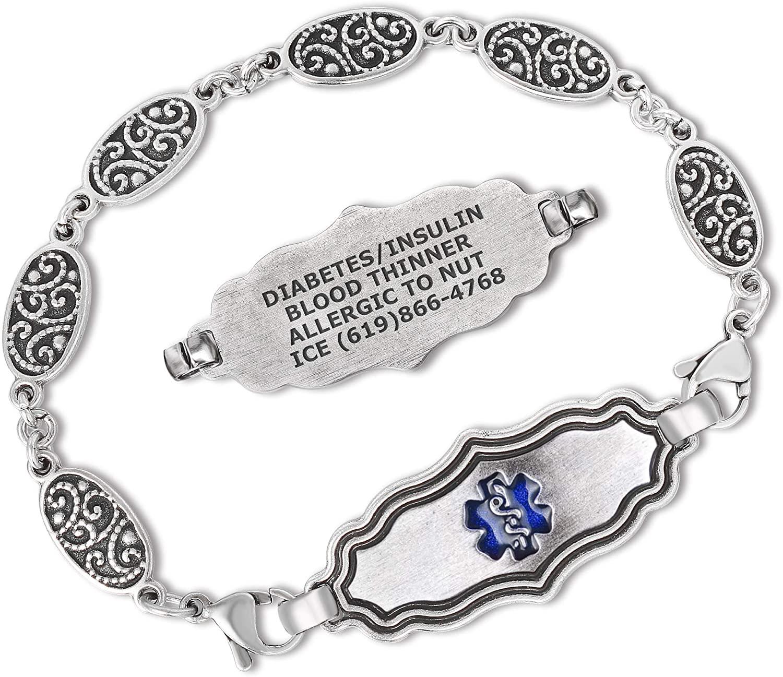 Divoti Custom Engraved Medical Alert Bracelets for Women, Stainless Steel Medical Bracelet, Medical ID Bracelet w/Antique Silver Plating – Heritage Silver – Various Styles/Size