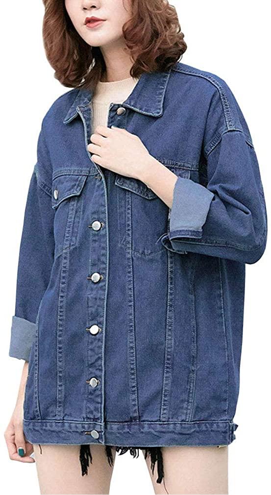 OSEING Women's Boyfriend Denim Jacket Distressed Jean Outerwear Coat