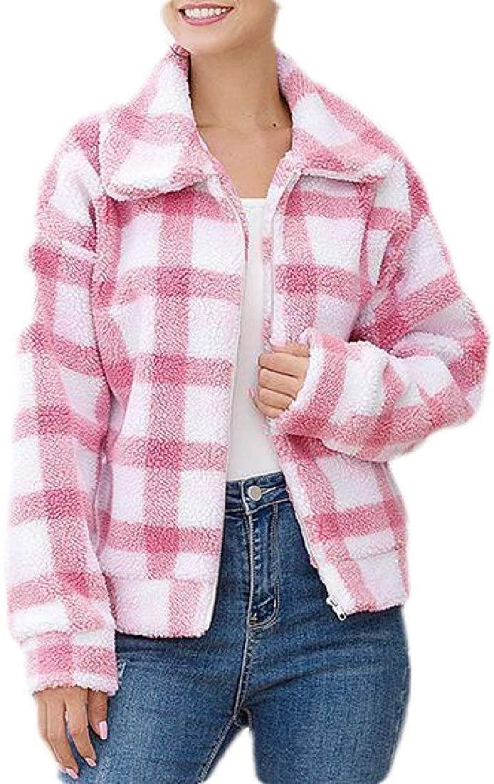 hower Women Warm Winter Fleece Fuzzy Faux Shearling Plaid Jacket Coat