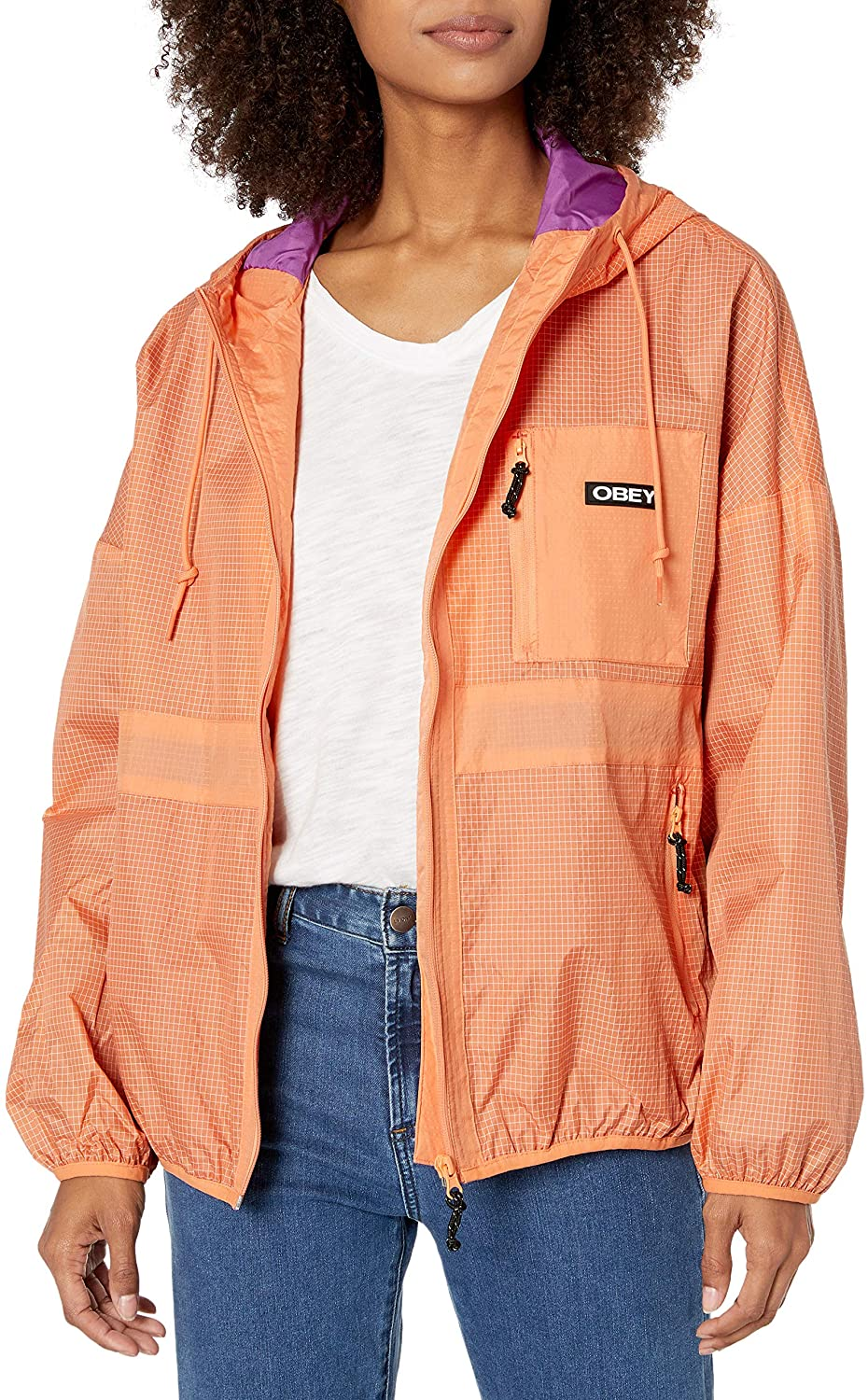 Obey Women's RIVERBED Jacket, Melon, X-Small