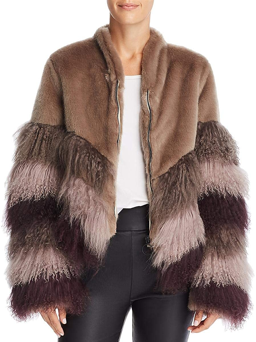 Urbancode Womens Mongolian Lambswool Colorblock Faux Fur Coat