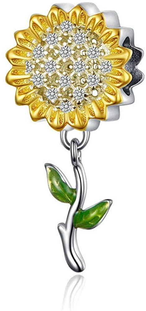 LAMOONY Sunflower Charm 925 Sterling Silver Sun Charm Flower Charm Love Gift Charm for Pandora Charm Bracelet