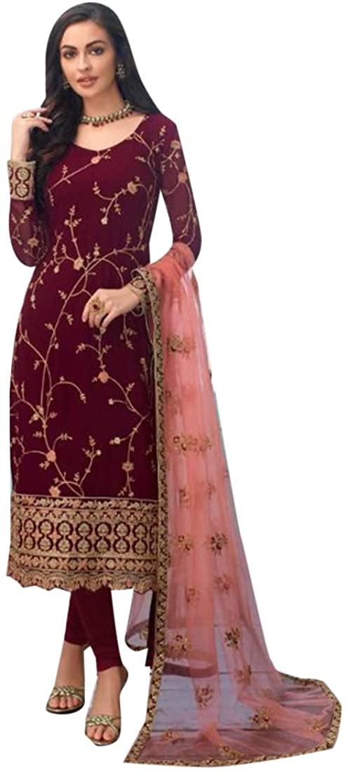 INDIA ETHNIC EMPORIUM Wine Georgette Salwar Kameez Muslim Party Indian Pakistani Ready to wear 9207