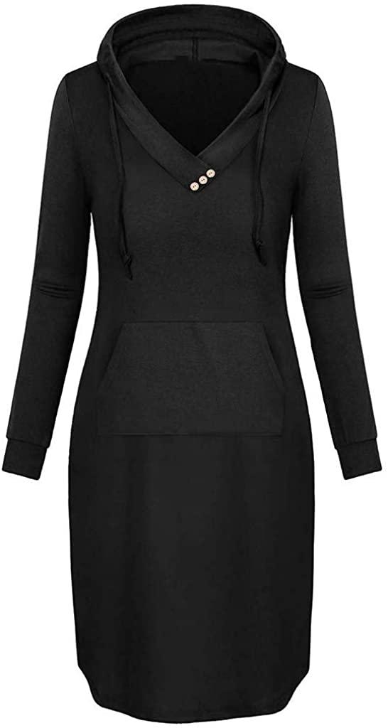 GLVSZ Womens Long Sleeve Hooded Loose Fit Pockets Pullover Hoodie Long Tunic Sweatshirts Dress