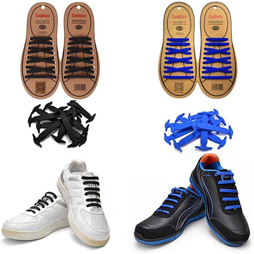 Joyshare No Tie Shoelaces for Kids and Adults - Sports Fan Shoelaces - Waterproof Silicon Flat Elastic Athletic Running Shoe Laces with Multicolor for Sneaker Boots Board Shoes and Casual Shoes