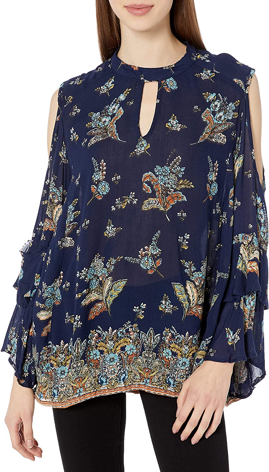 Angie Women's Long Navy Printed Keyhole Cold Shoulder Top