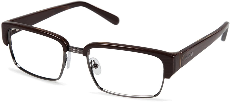 Cynthia RowleyNo. 68 Brown Wood Rectangle Metal Eyeglasses