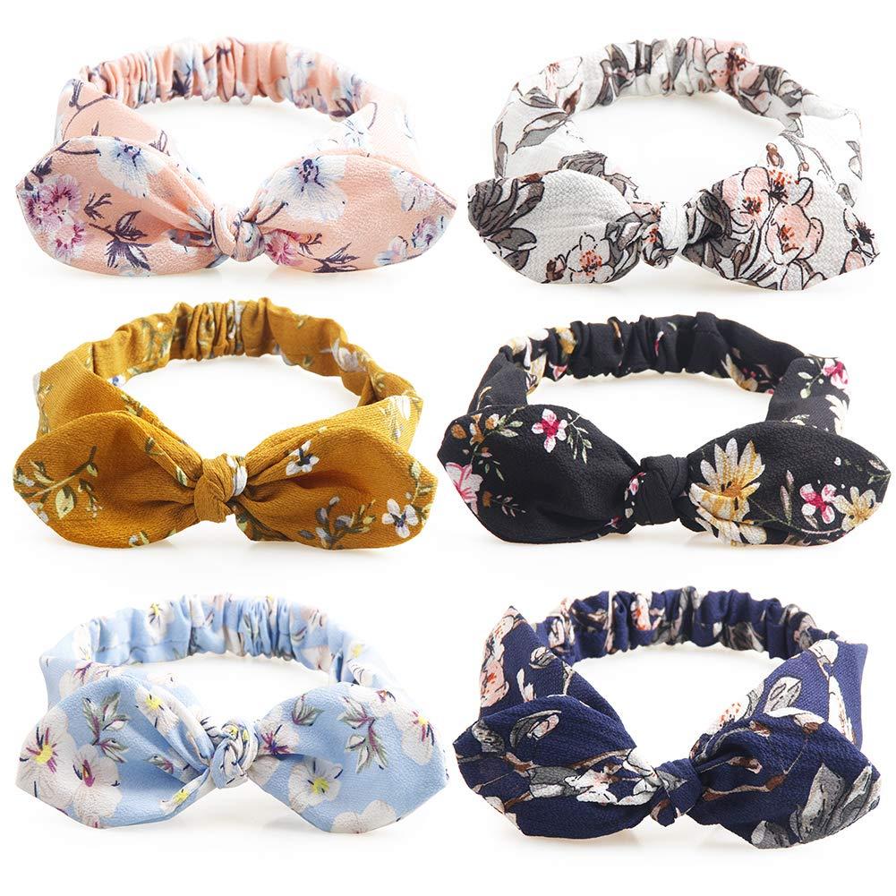 6 Pcs Headbands For Women Bow Boho Flower Printing Bubble Yarn Fabric Hair Band Teens Elderly