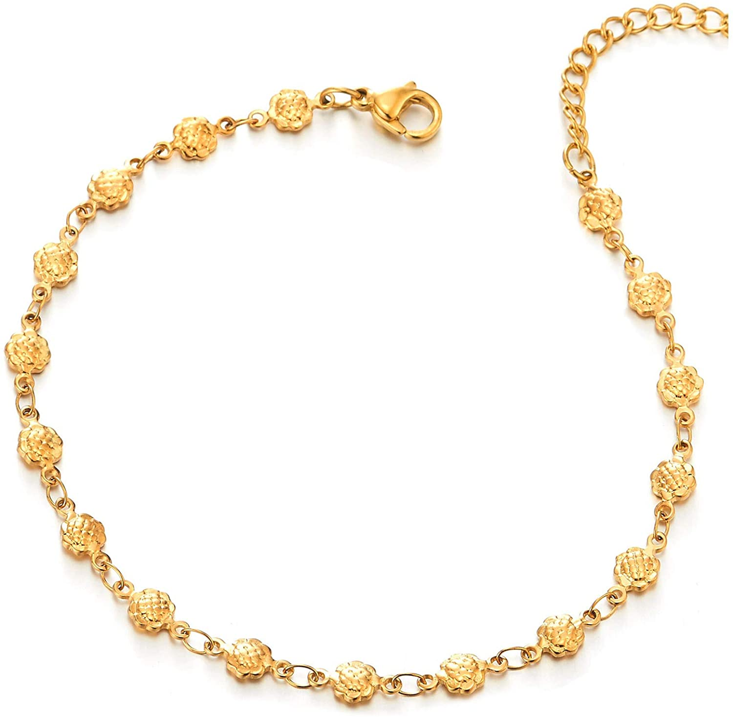 COOLSTEELANDBEYOND Beautiful Steel Womens Gold Color Sunflower Link Chain Anklet Bracelet with Dangling Heart