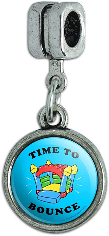 GRAPHICS & MORE Time to Bounce House Funny Humor Italian European Style Bracelet Charm Bead