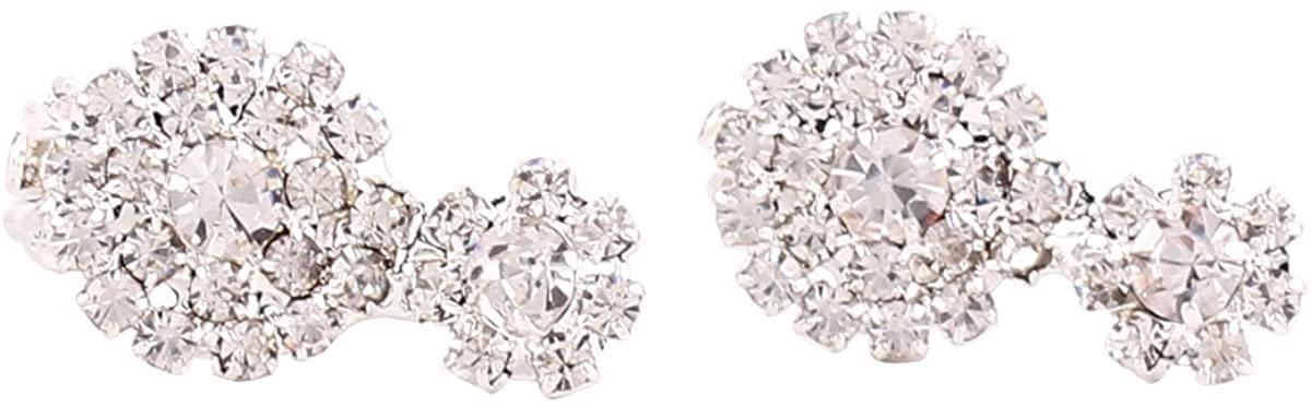 Fashion Silver Crystal Double Round -cut Full Rhinestone Clip on Earrings No Pierced