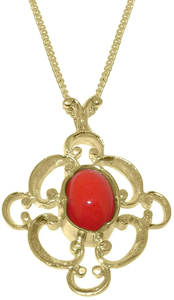 Solid 18k Yellow Gold Natural Coral Womens Pendant & Chain - Choice of Chain lengths
