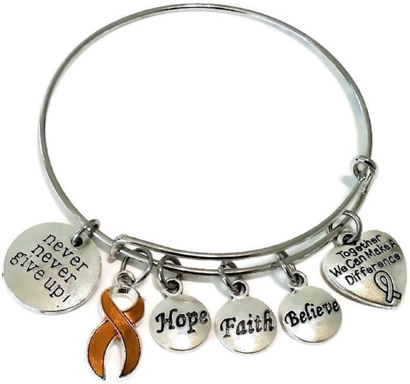 Kit's Kiss Orange Ribbon Bracelet, Orange Ribbon Jewelry, Cancer Awareness Jewelry, Leukemia Awareness Bracelet, Kidney Cancer Bracelet, MS Awareness, ADHD, Orange Ribbon Bangle Bracelet