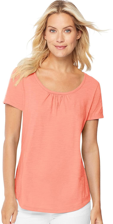 Hanes Women`s Short-Sleeve Shirred Scoop-Neck Tee, 9336, S