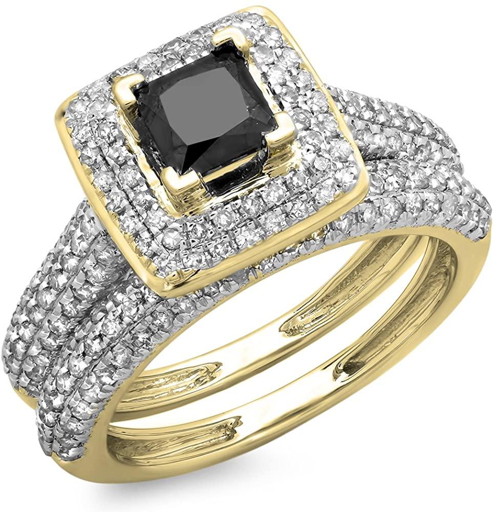Dazzlingrock Collection 1.40 Carat (ctw) 10K Gold Princess & Round Black & White Diamond Halo Bridal Engagement Ring Band Set