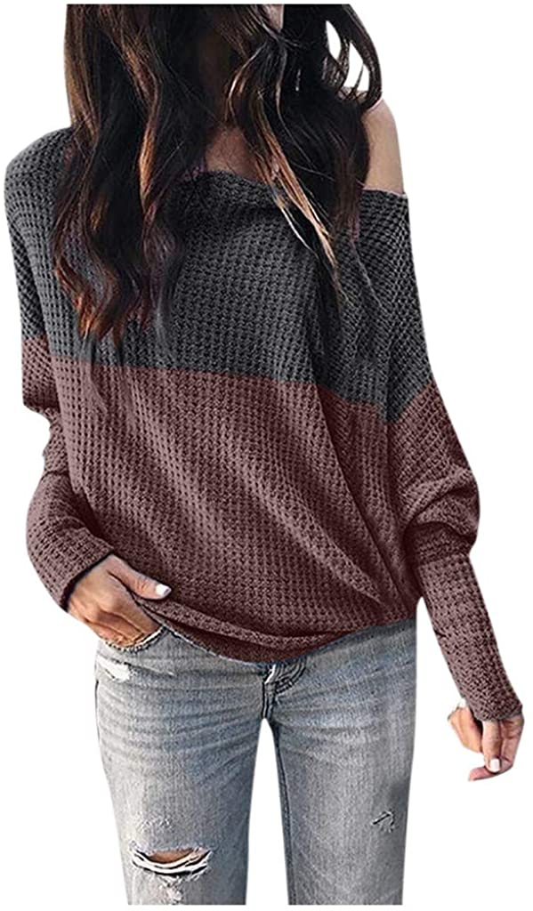 Misaky Women's Long Sleeve Shirts Off Shoulder Color Block Batwing Knit Pullover Blouse Casual Tunic Tops