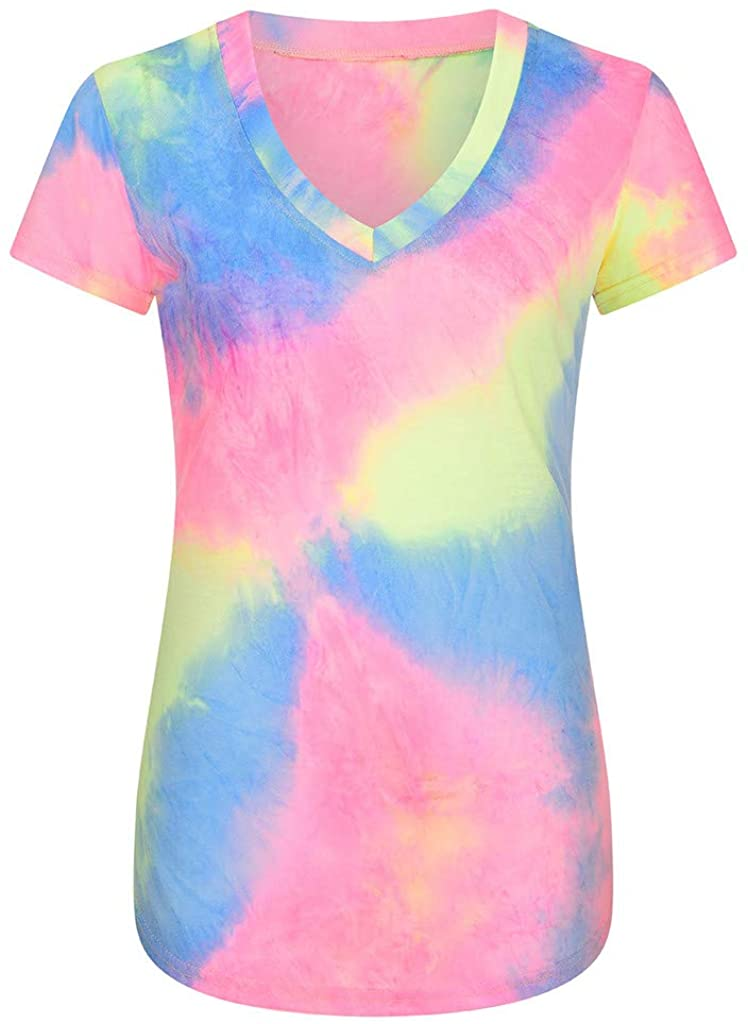 LINKIOM Women Short Sleeve Tunic Tops Tie-Dye V-Neck Colorful Tops Blouse Shirt