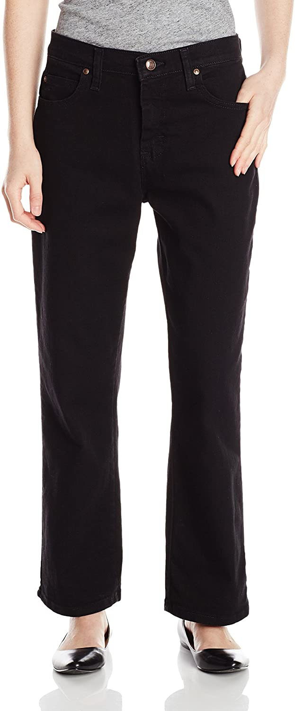 Lee Women's Petite Relaxed Fit Straight Leg Jean, Black, 6 Short Petite