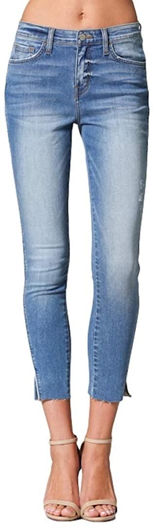 Flying Monkey High Dive High-Rise Split Hem Twisted Piped Side Seam Crop Skinny Light Wash Skinny Jeans Y2744
