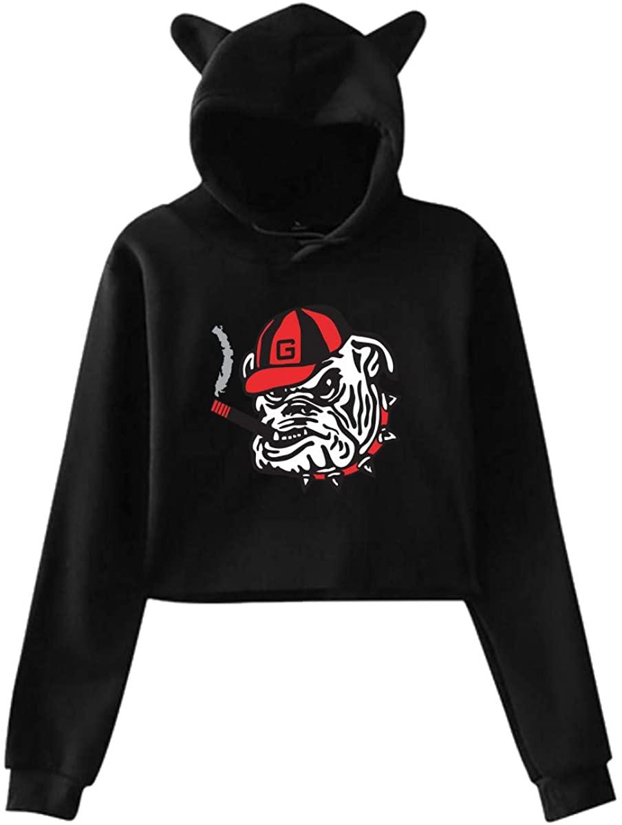 Rhythm of Rain Georgia Bulldogs Cat Ear Hoodie Sweater Hooded Pullover Girls Women Leak Navel Sweatshirt Black