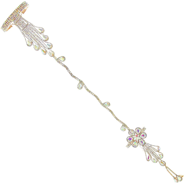 SP Sophia Collection Bohemian Wedding Bridal Arm Cuff Armlet Bracelet and Ring Fashion Rhinestone Body Jewelry