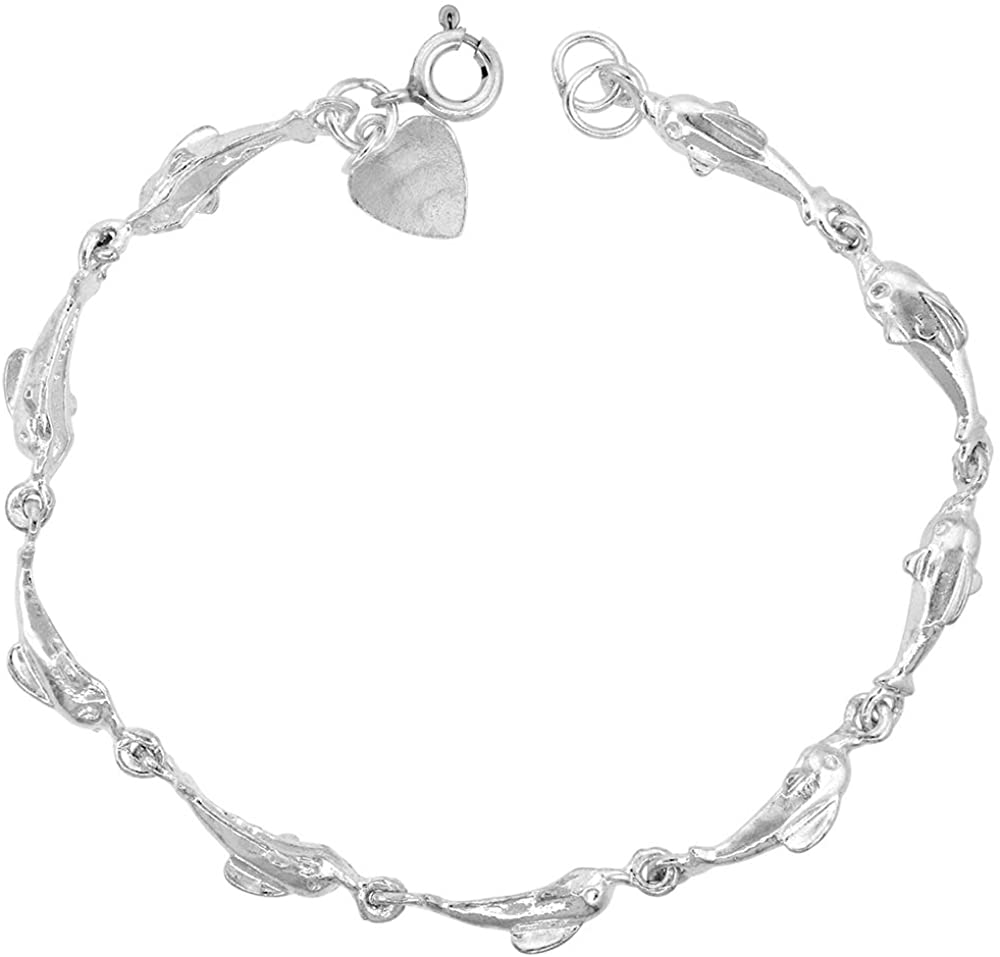 3/16 inch wide Sterling Silver Dolphin Charm Bracelet for Women 5mm fits 7-8 inch wrists