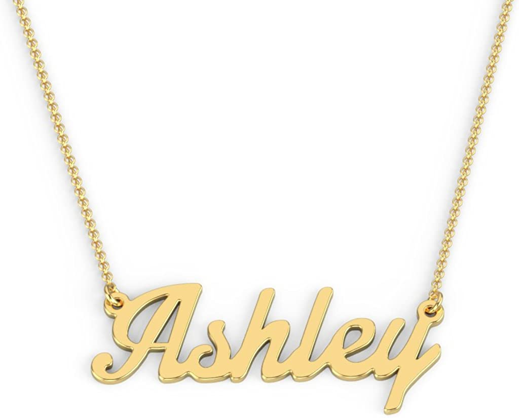 10K Gold Personalized Name Necklace in Glamorous Font by JEWLR