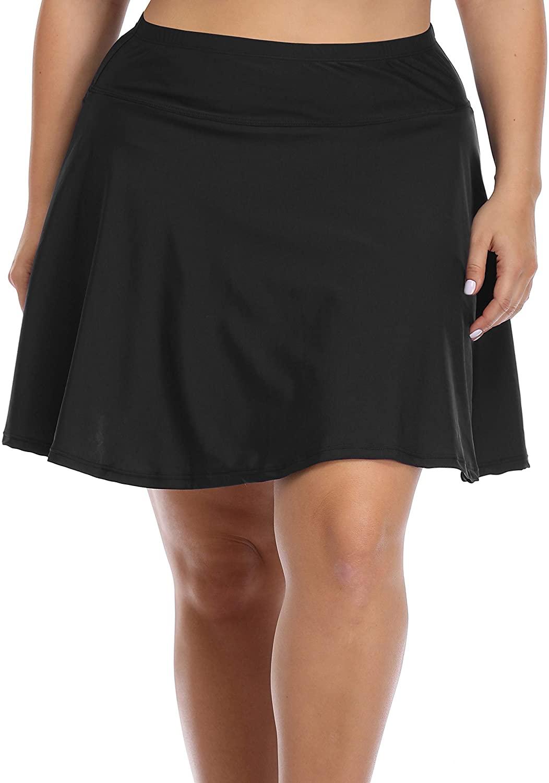 Daci Plus Size Swim Skirt Bottoms for Women High Waisted Swim Shorts Athletic Swimsuit Swimwear Bottom with Panty