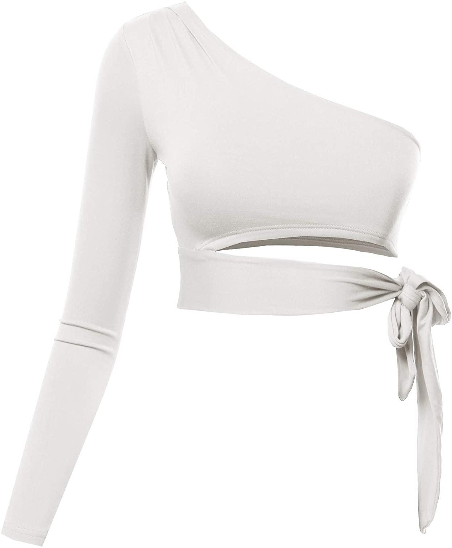 Women's ONE Shoulder Long Sleeve Sexy Crop TOP