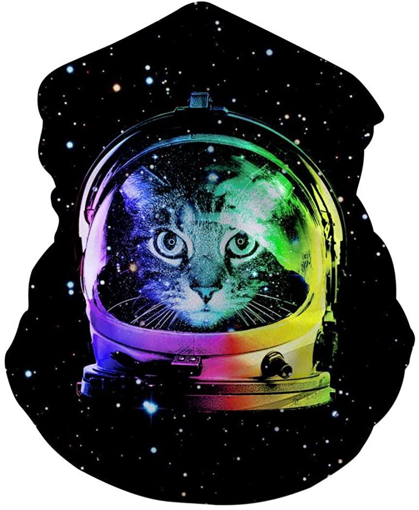 Rainbow Astronaut Cat Customized Face Mask Bandanas for Dust, Sports & Casual Headwear Seamless Neck Gaiter, Headwrap