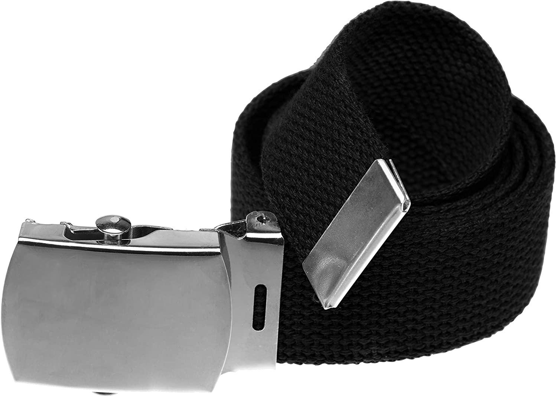 Jackster Ratchet Slide Web Belt, Military Style with Silver Metal Buckle, Adjustable