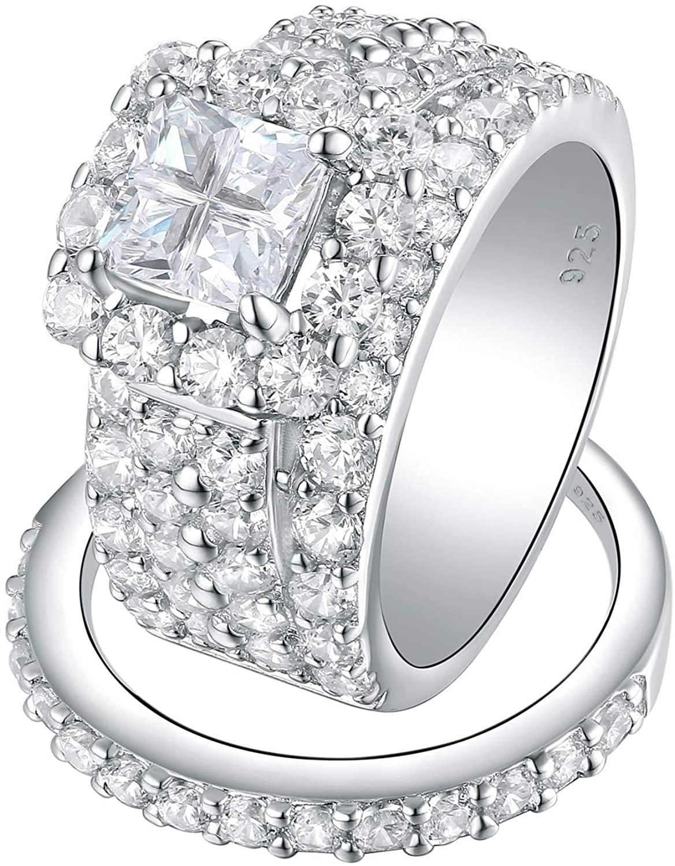Wuziwen 4Ct Halo Engagement Rings Wedding Set for Women Sterling Silver Cross Cut AAA Cz Size 5-12