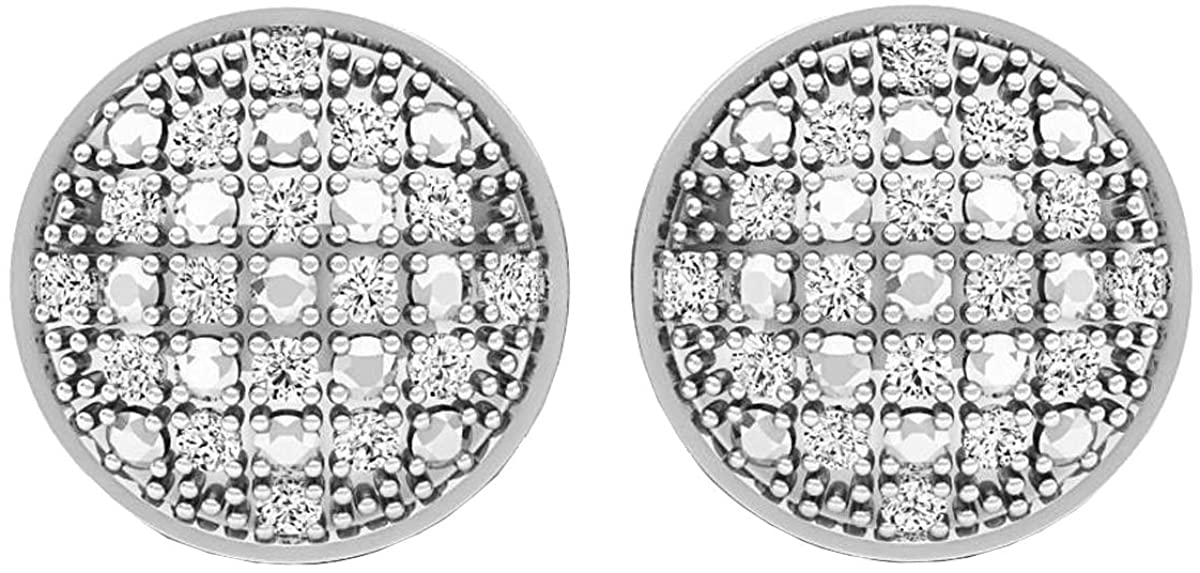 Dazzlingrock Collection 0.15 Carat (ctw) Platinum Plated Round Diamond Mens Ladies Unisex Stud Earrings, Sterling Silver