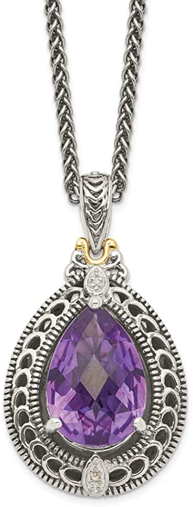 Solid 925 Sterling Silver with 14k Diamond & Simulated Amethyst Necklace Chain 18