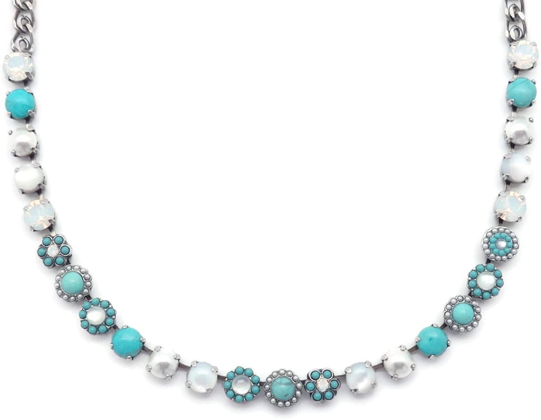 Mariana Polar Paradise Swarovski Crystal Silvertone Necklace Aqua & White Mineral Stone Mix Mosaic M87-1