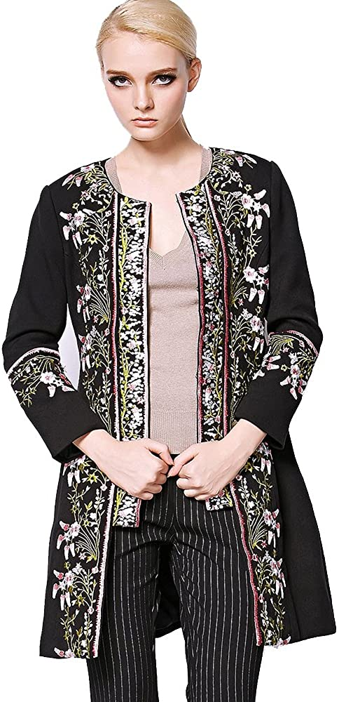 W1781 Fashion Novelty Warm Elegant Long Sleeves O-Neck Buttons Embroidery Flowers Women Long Coat