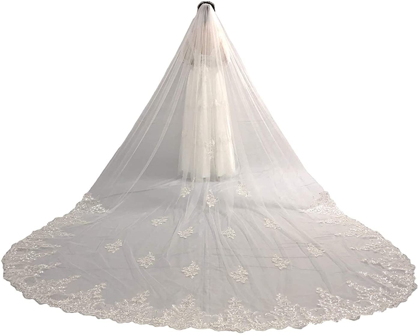 Faithclover Wedding Veils White Ivory 1 Tier Cathedral Beaded with Rhinestones Long with Comb