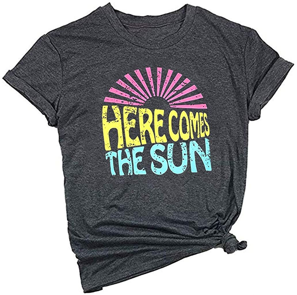 Here Comes The Sun Shirt for Women Cute Sunshine Graphic Tee Funny Letter Print Tee T Shirt