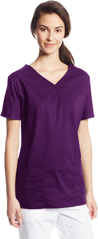 Cherokee Women's Workwear Scrubs Core Stretch Mock-Wrap Top (XX-Large), Eggplant