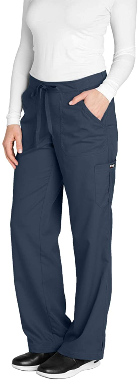 Grey's Anatomy Women's 4245 Junior Fit 4-Pocket Elastic Back Scrub Pants, Steel, 3X-Large