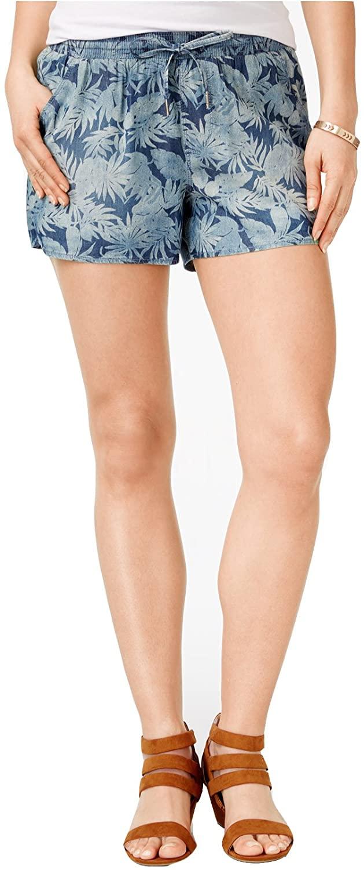 Rewash Juniors' Printed Drawstring-Waist Beach Shorts