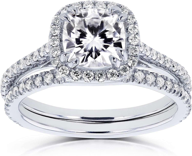 Kobelli Cushion Forever One (D-E-F) Moissanite 1-1/2ct TGW Halo Bridal Set in 14k White Gold