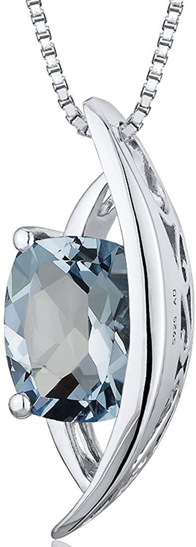 Intricate 1.25 carats Radiant Checkerboard Cut Sterling Silver Rhodium Finish Aquamarine Pendant